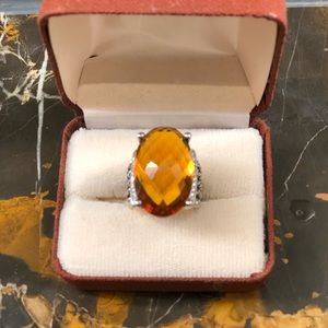 DAVID YURMAN-OVAL CITRINE STERLING W/DIAMONDS RING